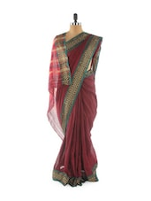 Maroon Saree With Checkered Border - Aura