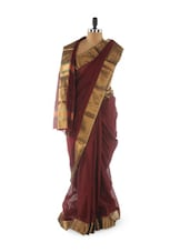 Maroon Saree With Gold Border - Aura