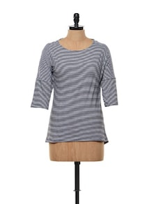 Black And White Striped Cotton Knit Tee - Gritstones