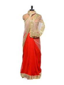 Red And Gold Saree - Get Style At Home