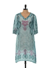 Pale Blue Digital Printed Kurti - Toscee