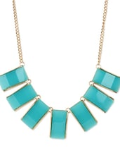 Turquoise And Gold Chunky Bib Necklace - Fayon