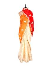Cream-orange Zari Trimmed Saree - Vishal Sarees