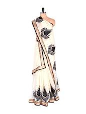 Monochrome Georgette Saree With Zari Border - Vishal Sarees