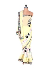 Butter Yellow Georgette Saree With Tribal Border - Vishal Sarees