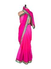 Fabulous Pink Saree With Green Border - Vishal Sarees