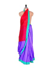 Art Silk Saree With Floral Print Pallu - Vishal Sarees