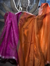 Orange Matka Silk Saree With Pink Aanchal - Cotton Koleksi
