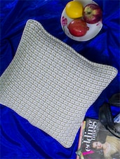 Set Of 2 White Jacquard Cushion Covers Made In Cotton - Home Colors