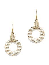 Silver & Gold Toned Drop Earrings - Golden Peacock