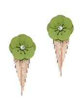 Green Flower And Chain Tassel Drop Earring - Golden Peacock