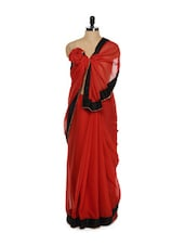 Red Saree With Black Border - Get Style At Home