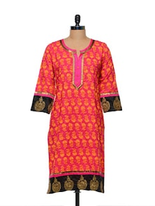 Pink & Orange Printed Kurti - Lyla