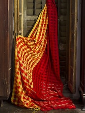 Red Resham Silk With Cotton Saree - Cotton Koleksi