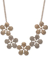 Frosted Floral Bib Gold Necklace - CIRCUZZ