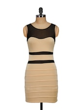 Beige Dress With Mesh Inserts - Ruby