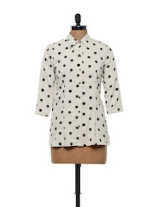 Polka Dotted Beige Poly Crepe Shirt - Meira