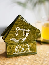 Warli Hand Painted Coasters Set Of 6 In Green - ExclusiveLane