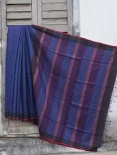 Blue Raw Jute Silk Sari With A Striped Pallu - Cotton Koleksi