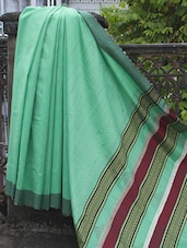 Fluorescent Green Cotton Silk With Gheecha Sari With A Striped Pallu - Cotton Koleksi