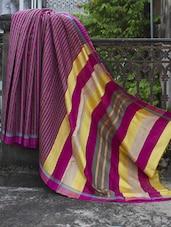 Magenta And Green Striped Raw Jute Silk Saree - Cotton Koleksi
