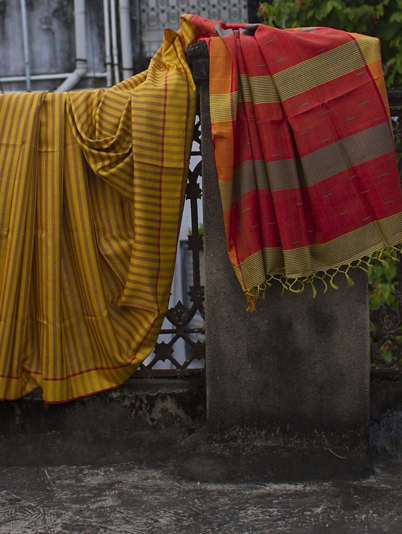 Mustard Yellow And Brown Striped Raw Jute Silk Saree - Cotton Koleksi