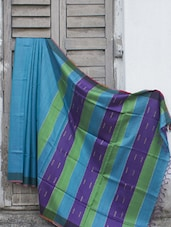 Sapphire Blue Raw Jute Silk Saree With Striped Aanchal - Cotton Koleksi