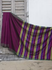 Magenta Resham Silk Saree With Striped Aanchal - Cotton Koleksi
