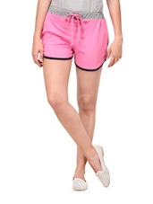 Cute Pink Shorts With Draw Strings - Yepme