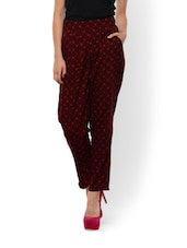 Maroon Polka Dotted Crepe Trousers - Meira