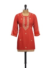 Red Georgette Embroidered Kurti - Go Lucknow