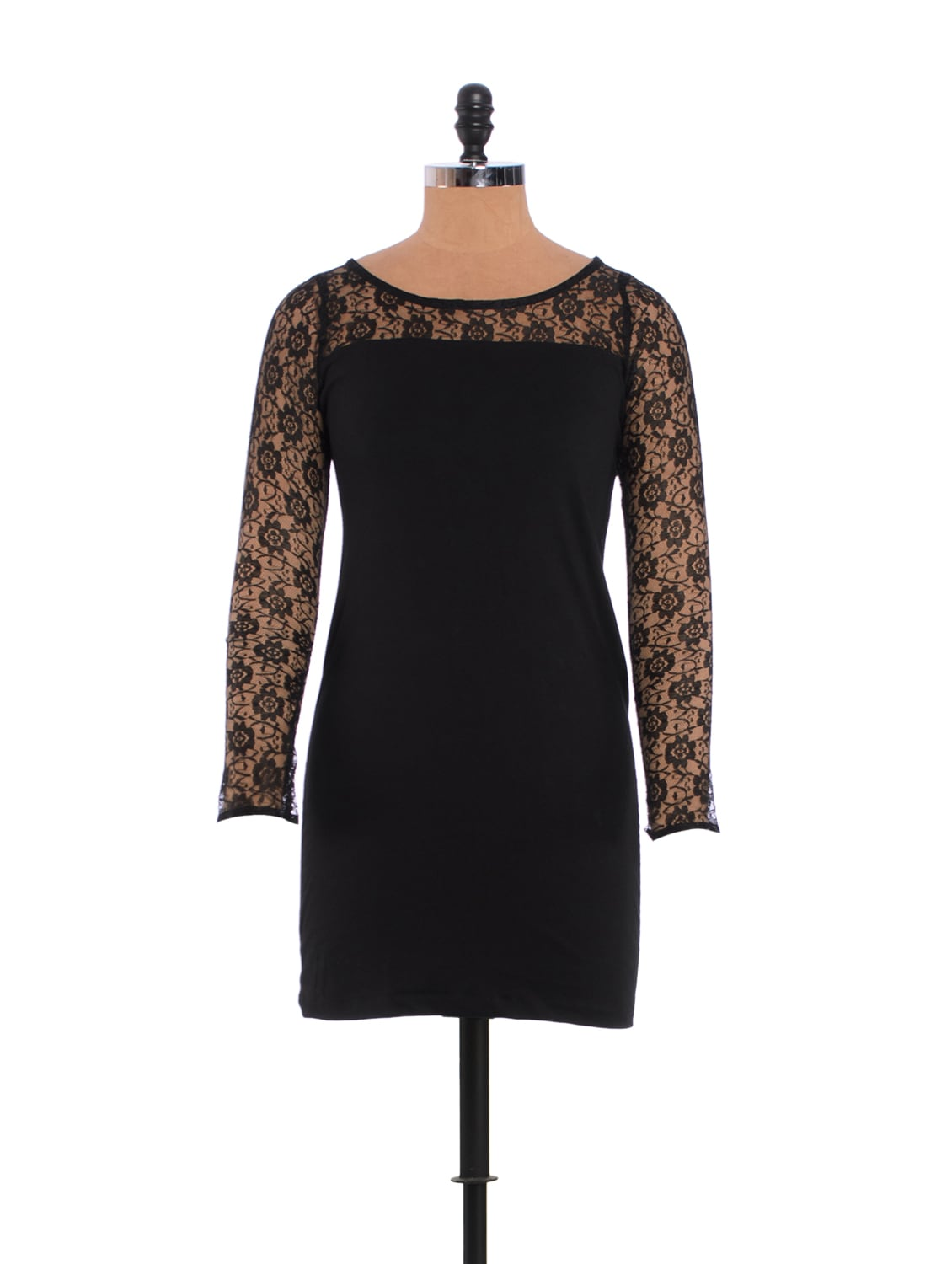 Little Black Dress With Lacey Shoulders - Xniva