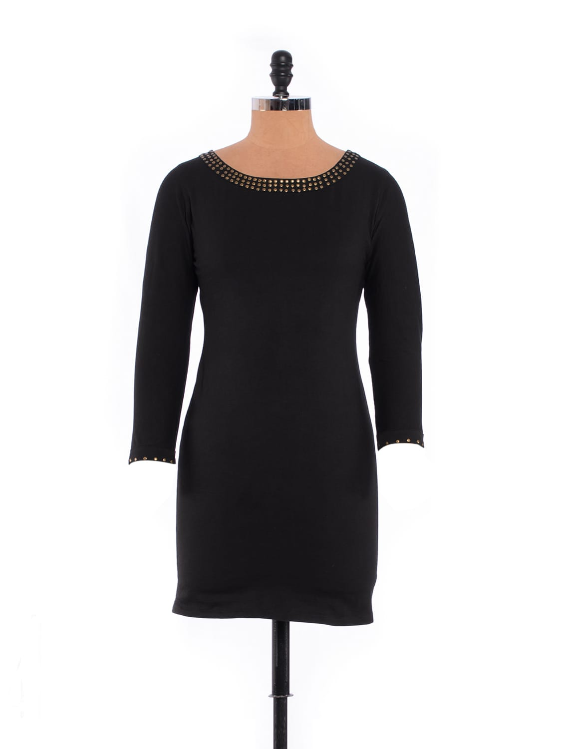 Dazzling Little Black Dress With Metallic Studs - Xniva