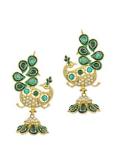 Emerald Green And Gold Peacock Dangler Earrings With Faux Pearls - AAKSHI