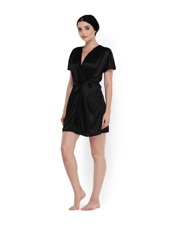 Buy Black Wrap Night Robe by Klamotten - Online shopping for Sleepshirts    Nighties in India  511e27393
