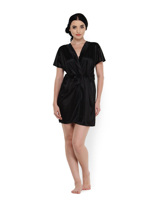 Buy Black Wrap Night Robe by Klamotten - Online shopping for ... c3c5df54b