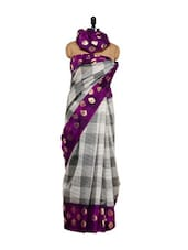 Golden Booti Print Bhagalpuri Art Silk Saree - Purple Oyster