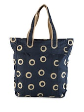 Navy Blue Polka-dotted Printed Tote - YOLO - You Only Live Once