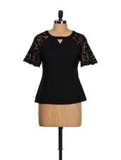 Black Lace Sleeves Top - CHERYMOYA