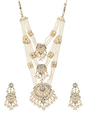 Long Pearl In Floral Arrangement & Stone Necklace Set - By