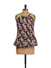 Black Floral Printed Top With Yellow Net Shoulders - M Expose