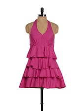 Fuschia Pink Halter Neck Style Ruffled Top - M Expose