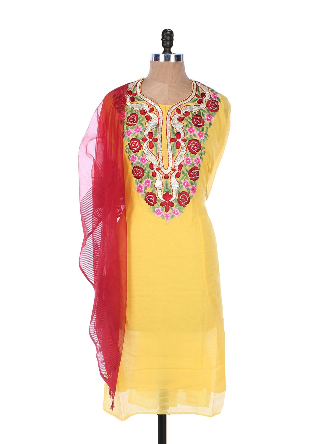 Yellow Linen Kurta With Pink And Red Embroidery On The Placket And Sleeves, Red Dupatta - Krishna's