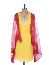 Yellow Linen Kurta With Embroidery, Gota Work On The Placket And Sleeves , Red Dupatta - Krishna's
