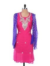 Bright Pink Linen Kurta With Embroidery, Gota Work On The Neck And Sleeves, Blue Dupatta - Krishna's