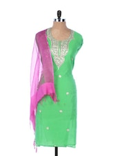 Green Linen Kurta With Embroidery, Gota Work On The Placket And Sleeves , Transparent Pink Dupatta - Krishna's