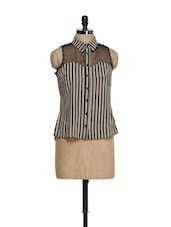Black And Beige Striped Georgette Top With An Organza Yoke - Oranje