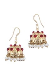 Gold Jhumkis With Red And White Faux Pearls - KSHITIJ