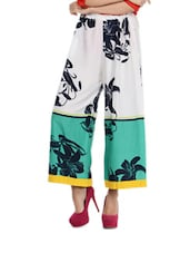 White And Green Floral Print Palazzo Pants - Free Living