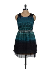 Black And Blue Printed Cotton Knit Top With  A Net Base - RADICAL